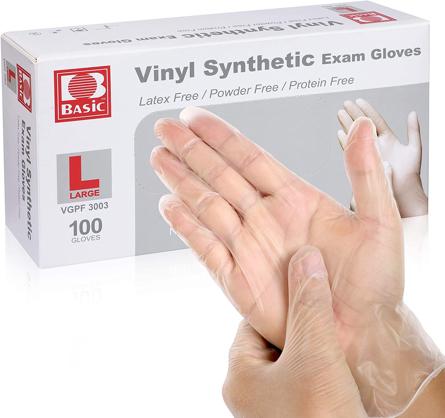 Large Disposable Vinyl Gloves Latex Free Powder Free PVC Exam Gloves Cleaning Gloves For Food Service Kitchen Cleaning First Aid - 100pcs/box, Clear