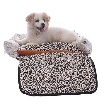 Pueri cama Deluxe LEOPARDO con cojín extraíble y cubierta para cesta para perro, gato, lavable, tamaño S: Amazon.es: Productos para mascotas