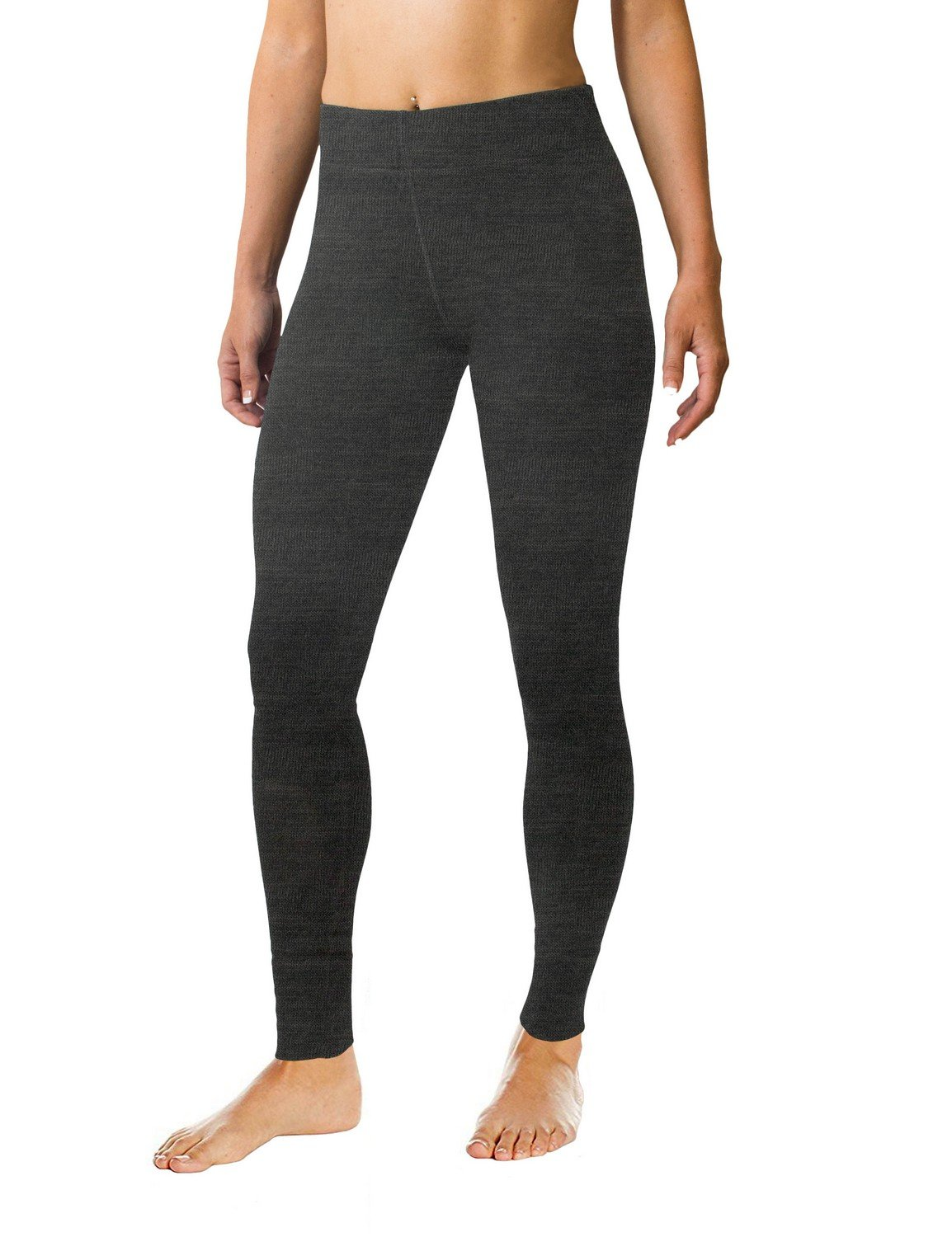 Woolx Women's Avery Midweight Merino Wool Base Layer Leggings For Warmth, Charcoal Heather, X-Small