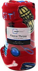 Mainstay Idea Nuova Pet Stuff Fleece Throw - 50in 60in (Pet Stuff Red)