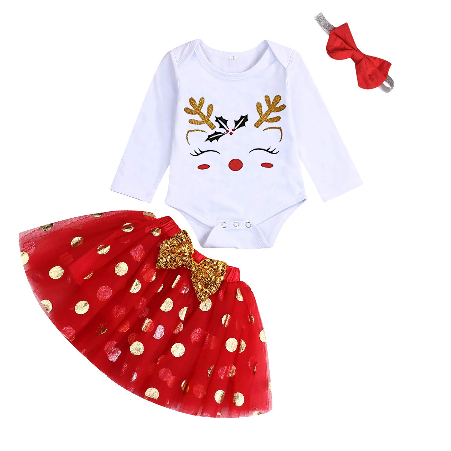 My First Christmas Clothes Baby Girls My 1st Christmas Romper Top+Dot Tutu Skirt+Leg Warmers+Headband 4Pcs Outfit Set