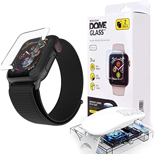 Dome Glass For Apple Watch Series 6 40mm Tempered Glass Screen Protector Liquid Dispersion Tech With Case For Apple Watch 4 5 6 Two Pack