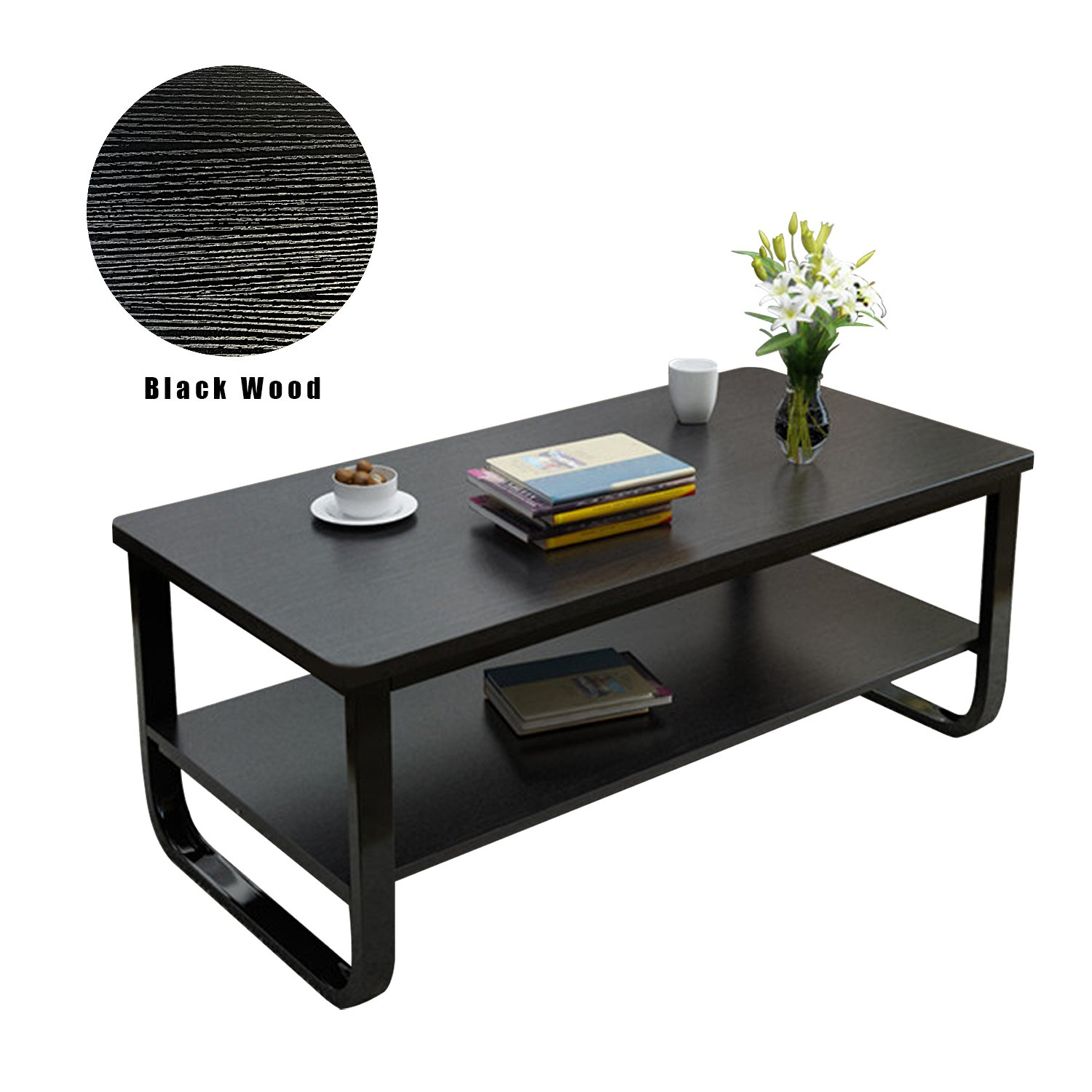 DL furniture- Black Metal frame Luxury coffee table with Smooth surface, 2 tier and stable stand/Black