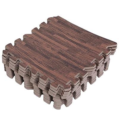18Pcs Tapis De Sol EVA En Mousse 30x30cm Imprimé Mousse Imition Bois Tapis De Jeu Puzzle Pour Enfants ( Color : Deep Wood Grain )