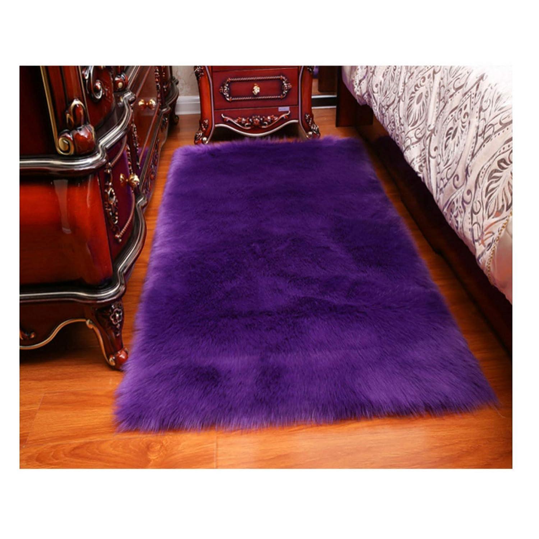 Elhouse Home Decor Soft Mat Rectangle Rugs Faux Fur Sheepskin Area Rug Baby Nursery Bedroom Shaggy Carpet Fluffy Rug, 2ft x 3ft Black