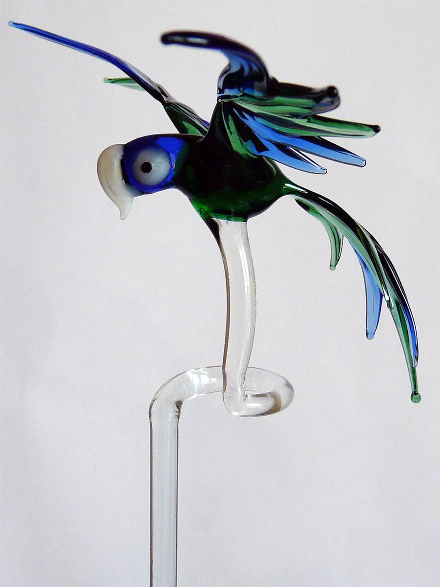 Lupi Orchid Rod Holder with Large Parrot Blue Green Orchid Stakes