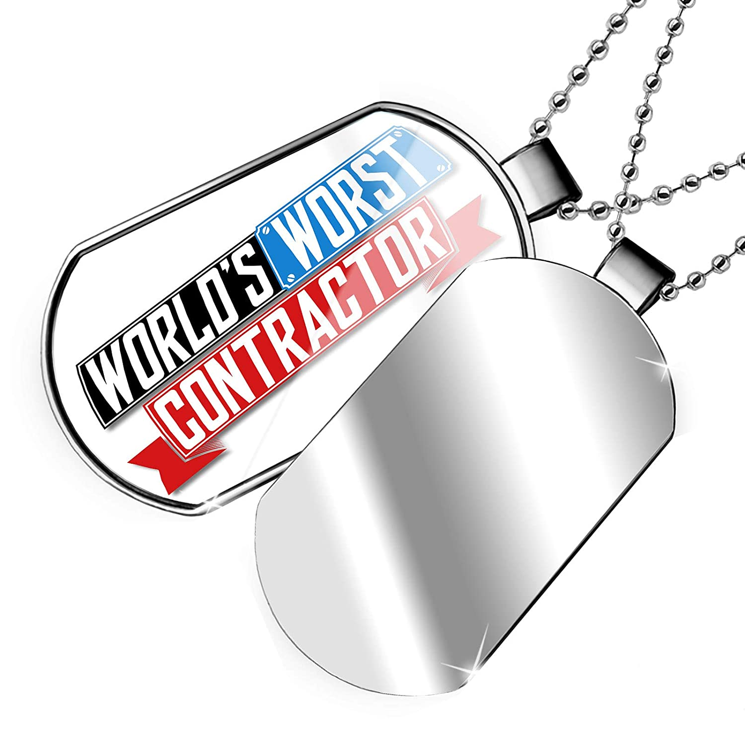 NEONBLOND Personalized Name Engraved Funny Worlds Worst Contractor Dogtag Necklace