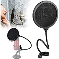 Techtest Pop Filter For Condenser Microphone Mic Recording Popfilter Screen Broadcasting Singing Professional Wind Mobile Voice Popup Shield Mask Dynamic Windscreen Sound Studio Swivel Mount 6-Inch