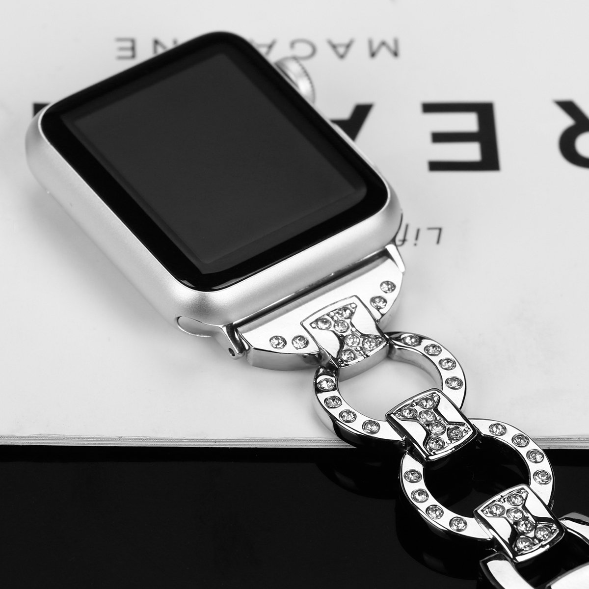 Metal Watch Band for Apple Watch Iwatch Band 42mm Bling Metal Wristband Bracelet for Women Diamond 38mm Apple Watch Band Series 3 2 1 by BONSTRAP (Image #3)