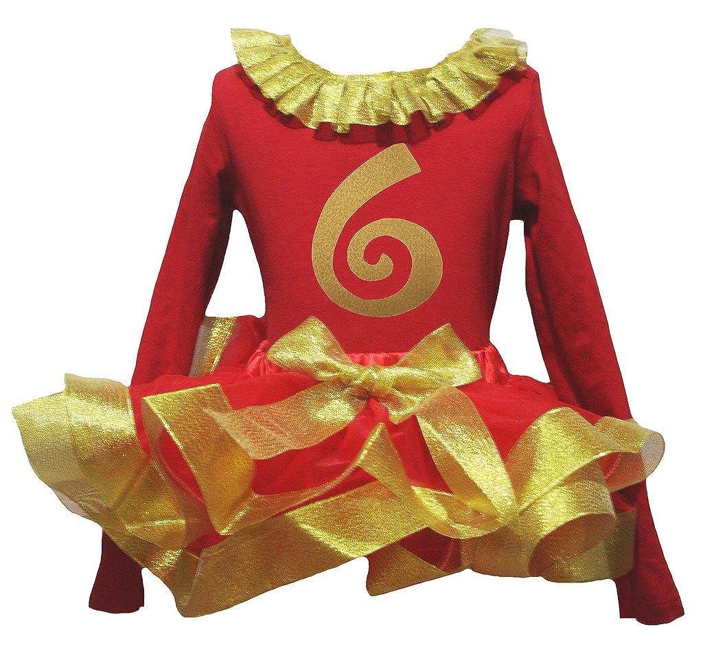 Petitebella Gold Six 6th Paint Red L//s Shirt Petal Skirt Gold Ribbon Set Nb-8y
