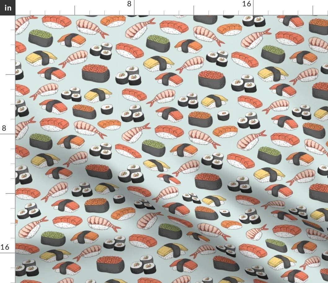 Spoonflower Fabric - Sushi Roll Funny Food Asian Japanese Chopstick Japan Cute Fish Printed on Petal Signature Cotton Fabric by The Yard - Sewing Quilting Apparel Crafts Decor