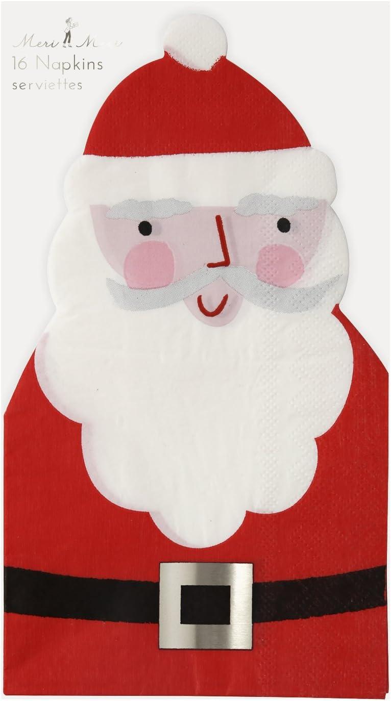 Meri Meri Santa Die-Cut Guest Napkins 45-2372 Set of 16 Napkins