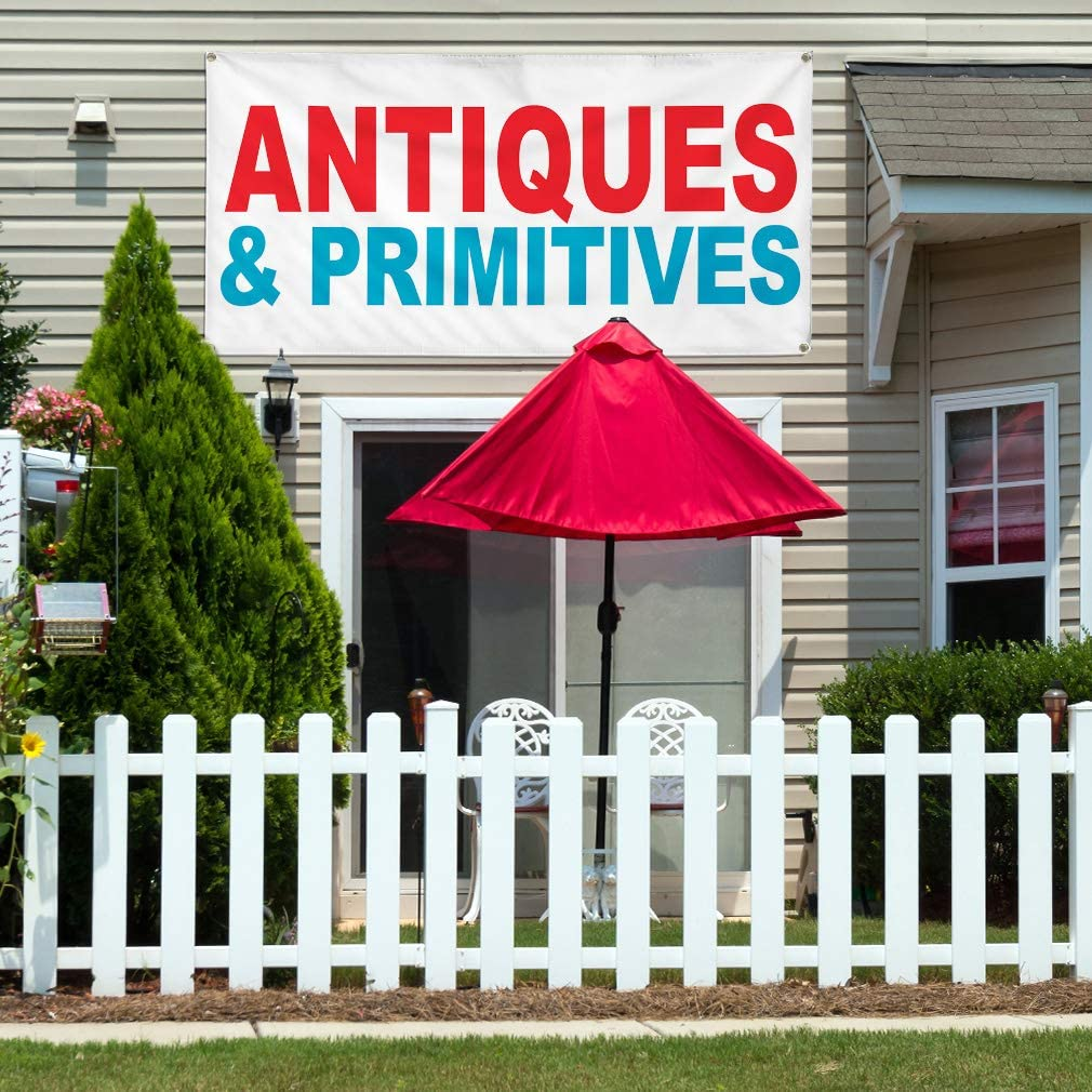 Vinyl Banner Multiple Sizes Antiques Primitives Red Blue Business Outdoor Weatherproof Industrial Yard Signs 4 Grommets 24x36Inches