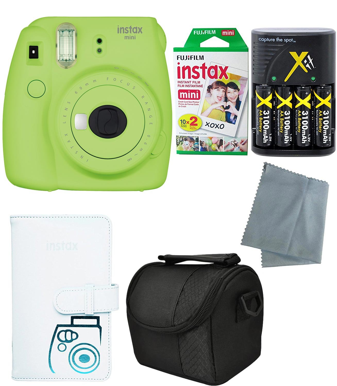 Fujifilm Instax Mini 9 Instant Camera (Mini 9, 2017 Release) - 6 Pack Accessory camera bundle – 20 Instax film - Camera/video case – instax leather album - And much more(1 year warranty)