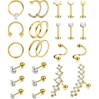 FIBO STEEL 25 Pcs 16-20G Stainless Steel Cartilage Earring Stud Hoop for Women Men CZ Star Heart Labret Tragus Stud…