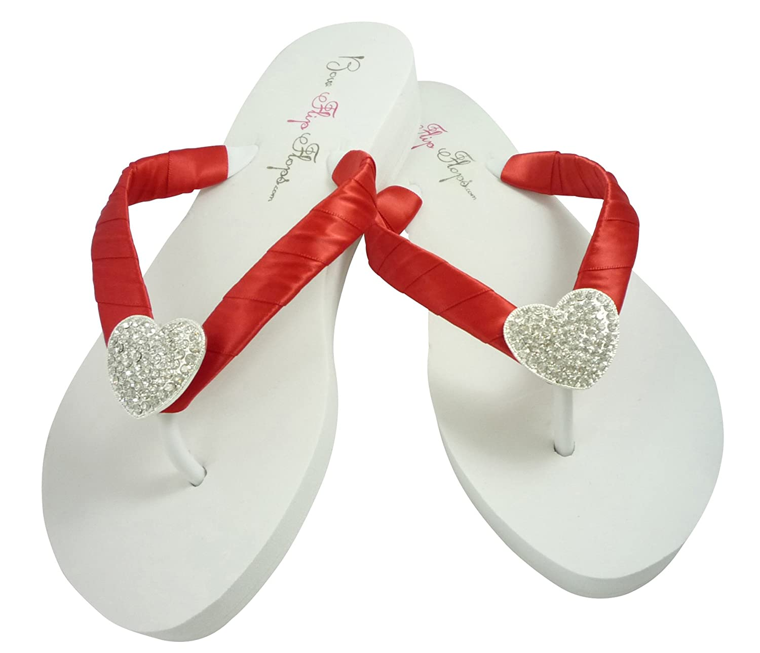 6e45efc5bbc0aa Amazon.com  Ice Blush Pink Wedge Flip Flops Rhinestone Starfish Wedding  Sandals in White or Ivory  Handmade