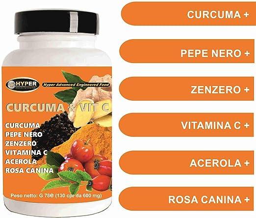 Cúrcuma y Vit C. Piperina Jengibre Acerola Vitamina C 130 Tabletas Antioxidante Dosis alta Extracto de Curcumina Potente Rápido La Quema de Grasa ...