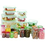 Kinetic 11437 Go Green Glassworks Series 34 Piece Set Glass Food Storage Container with Lid and Mini Jar, Clear
