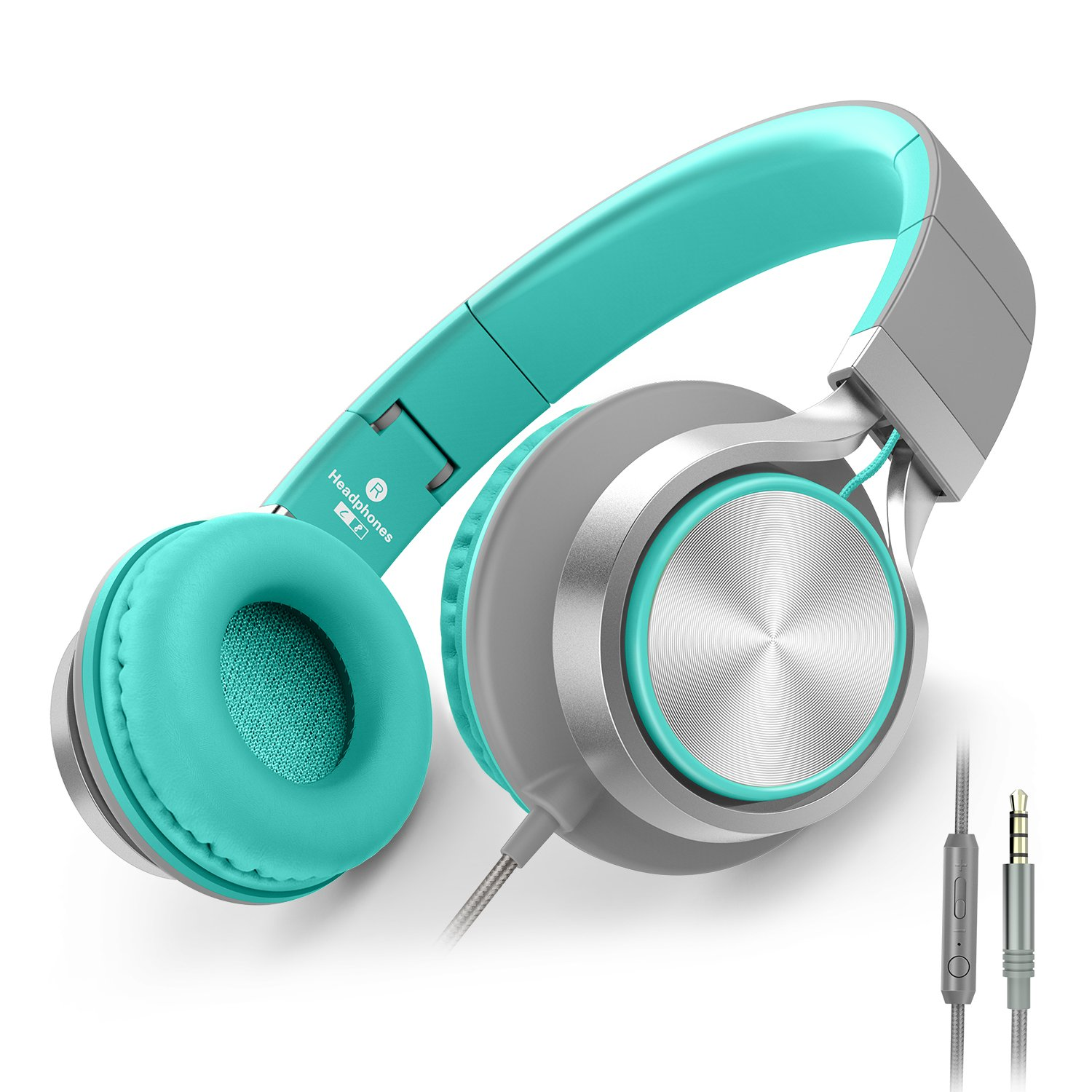 AILIHEN C8 Headphones with Microphone and Volume Control Folding Lightweight Headset for Cellphones Tablets Smartphones Laptop Computer PC Mp3/4 (Grey/Mint) by AILIHEN