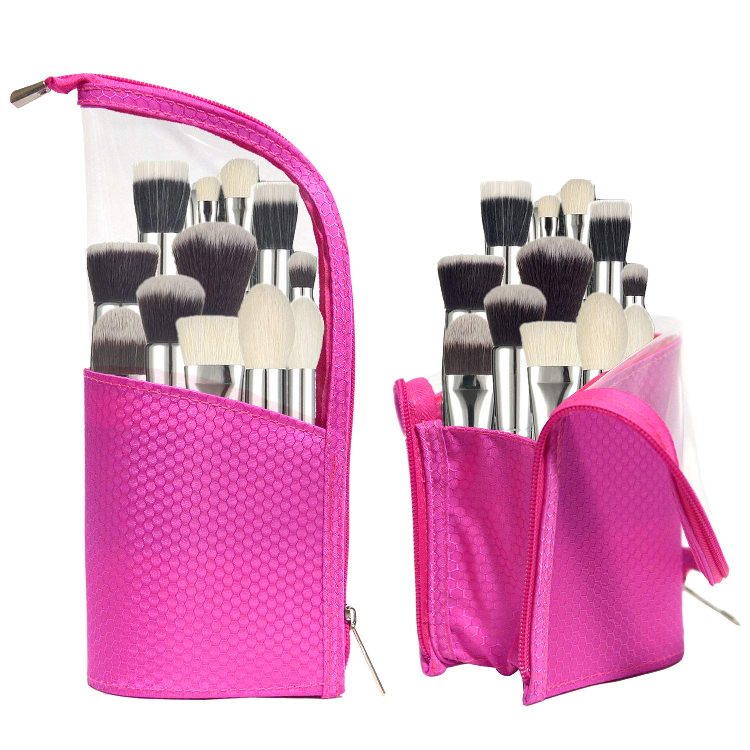 Waterproof Cosmetic bag Travel Make up Brush Cup Holder Organizer Bag, Stand Pencil Pen Case pen holder for Sketch, Portable Stand-Up Toiletry Stationery Bag with Divider Pink