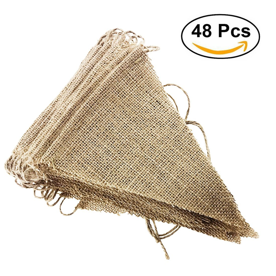 Etmact 48 Pcs Burlap Banner, 31 ft DIY Triangle Flag, Hand Painted Decoration for Wedding, Birthday Party and Any Occasion