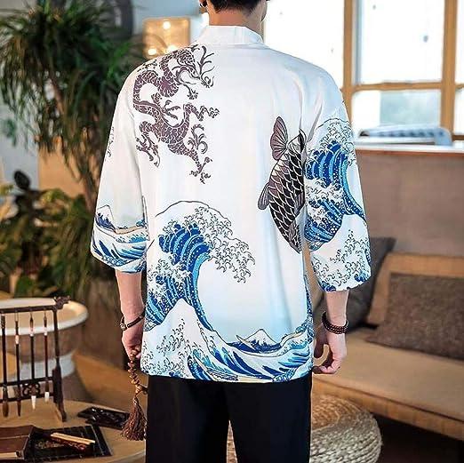 Japoneses Hombres Chaqueta De Punto Kimono Yukata Haori Masculina For Hombre De La Chaqueta Kimono Ropa Samurai Traje del Kimono Camisa Yukata Hyococ (Color : Beige, Size : The): Amazon.es: Hogar