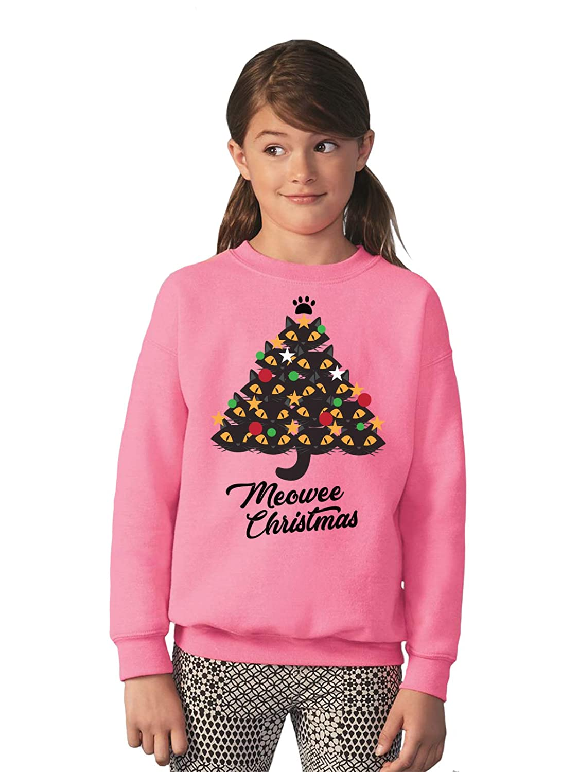 Vizor Ugly Xmas Party Kids Sweatshirt Youth Cat Christmas Sweater for Boys Girls