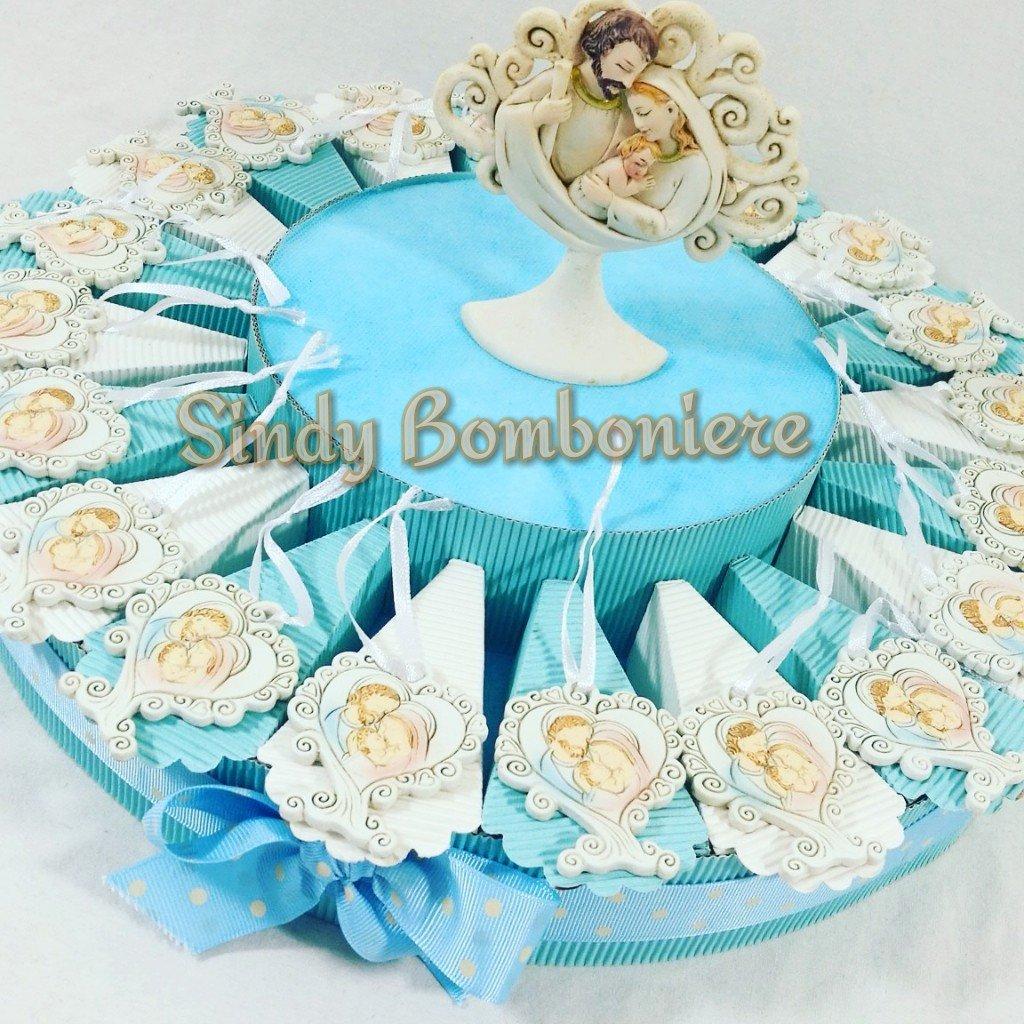 Bomboniere originale torta nascita battesimo compleanno bimbo sacra famiglia albero della vita cuore (Torta da 90 fette + centrale)