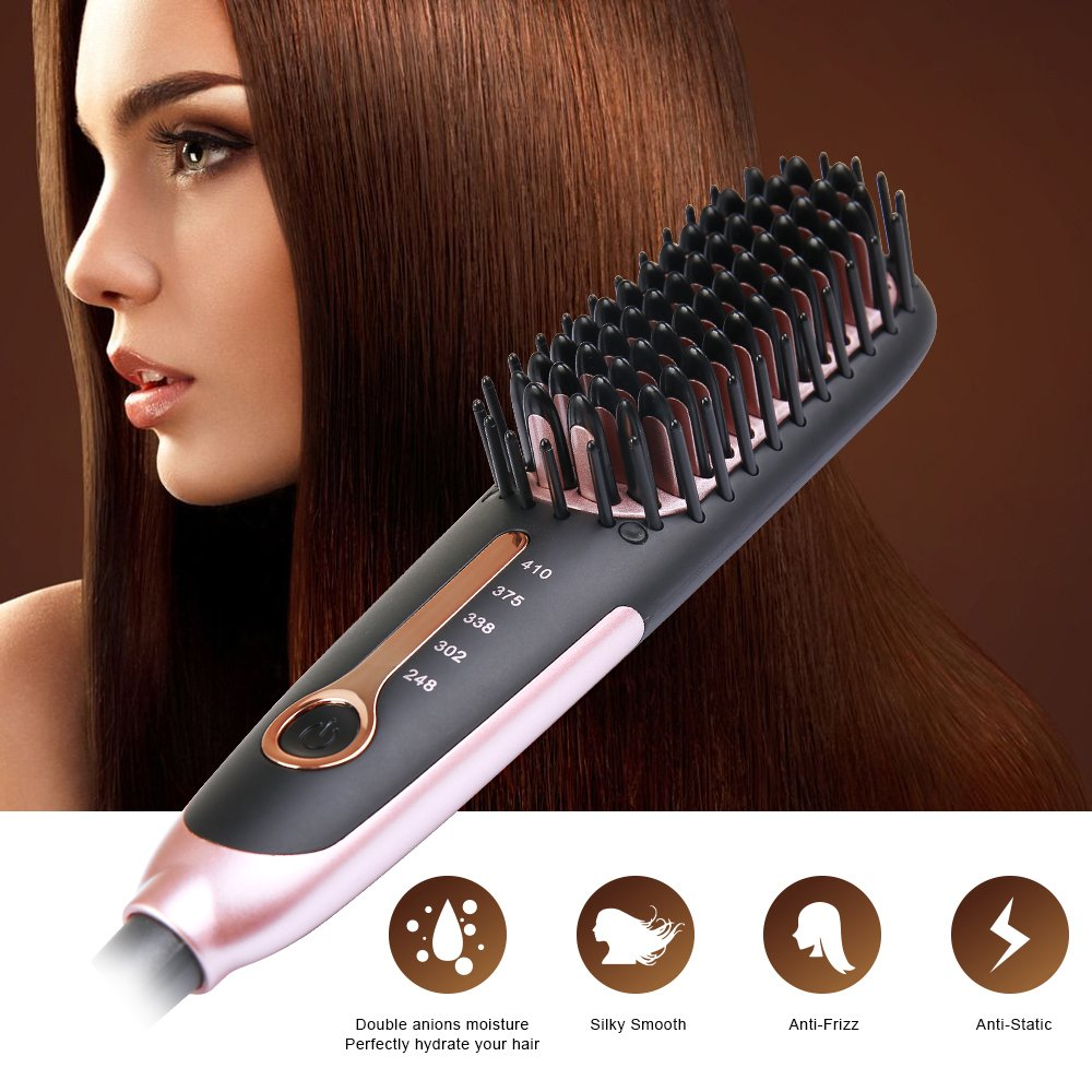 Straightening Brush 3.0, Buture Mini Hair Straightener Brush Ceramic Heating Ionic Hair Straightening Brush for Travel with Anti-scald MCH 110-240V Auto Shut Off Temperature Lock Black and Pink by BuTure (Image #4)