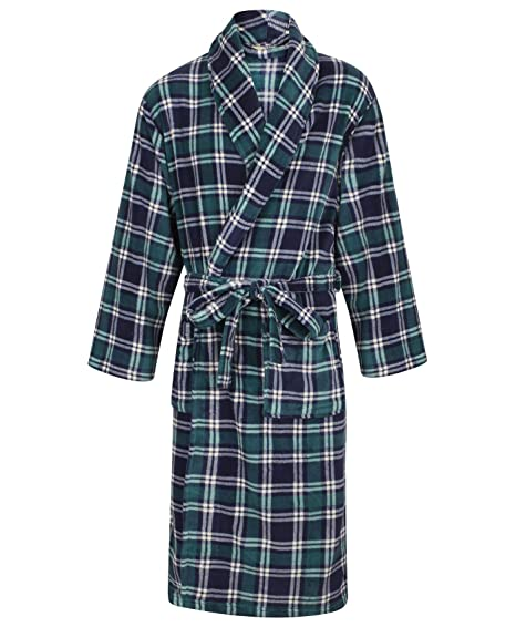 Walker Reid Mens Checked Dressing Gown Coral Fleece Bath Robe With