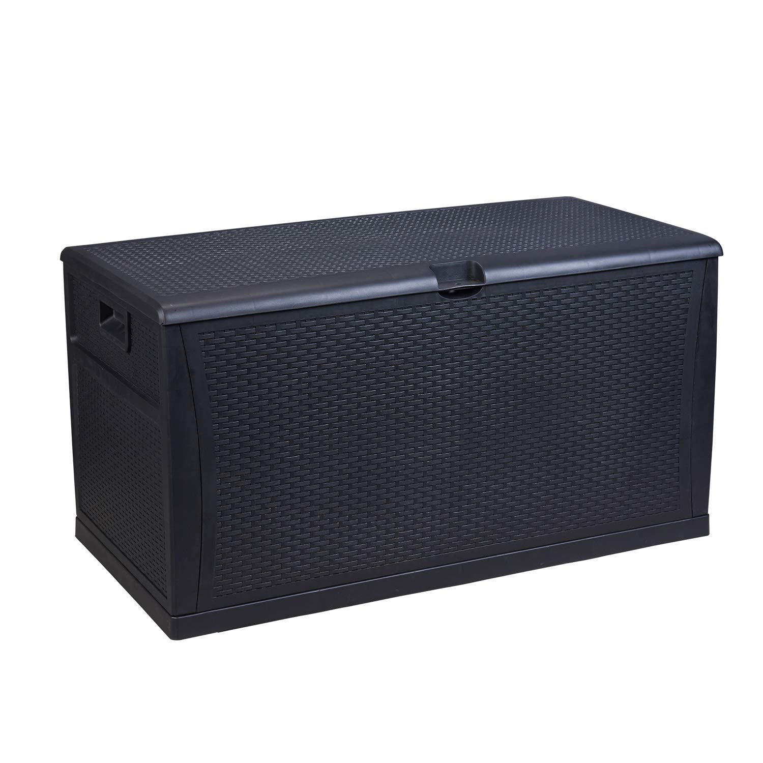 Ainfox Patio Storage Deck Box, Outdoor Storage Plastic Bench Box - All Weather Resin Wicker Deck Box Storage Container Bench Seat Black
