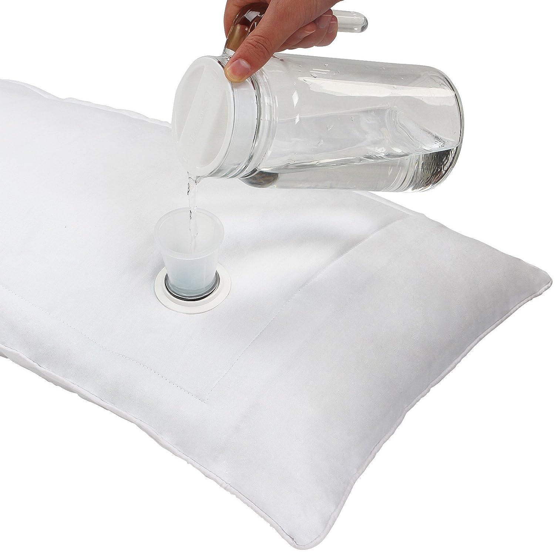 40 x 80 cm Regolabile Cervicale Morbido//Medio//Rigido Guanciale Antidecubito Fodera 100/% Cotone Jago Cuscino ad Acqua Imbuto Incluso
