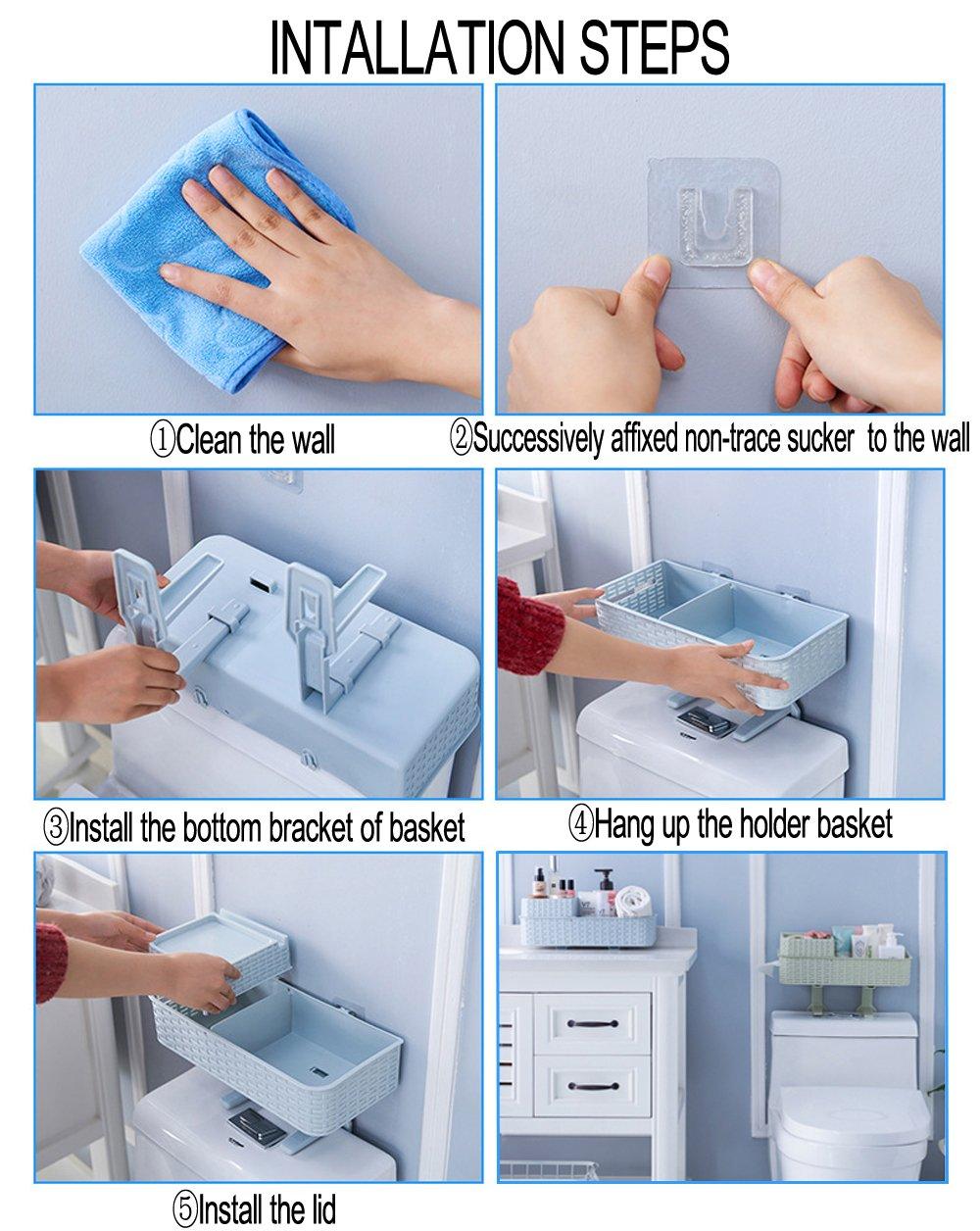 Acstar Multi-functional Suction Wall Toilet Rack Bathroom Hanging Storage Rack Kitchen Storage Basket Desktop Storage Basket Exempt from Punching Waterproof (Light blue) by Acstar (Image #8)
