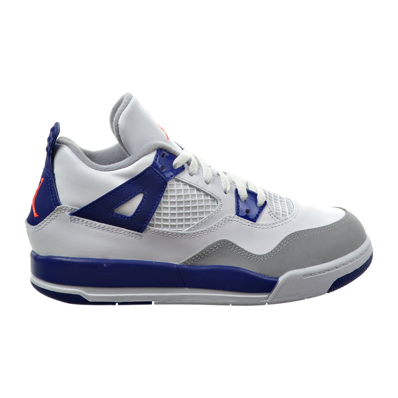 Jordan 4 Retro GP Little Kid's Shoes White/Hyper Orange/Deep Royal Blue/Wolf Grey 487725-132 (1 M US) by Jordan