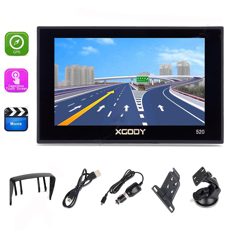 XGODY 520 portátil coche camión GPS navegación 5 pulgadas Sat Nav pantalla táctil integrado 8 GB ROM Mapas de por vida voz giro direcciones con pantalla de ...