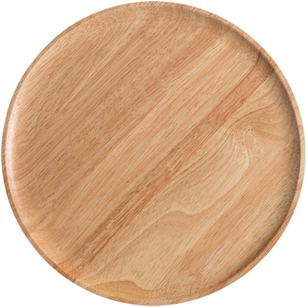 Tray, Wooden Serving Pan Trays Dishes Round Wood Platter Decor for Coffee Tea Cocktail Bread Breakfast Dinner Fruit Food Supplies for Home Resturant Cafe Party Prom