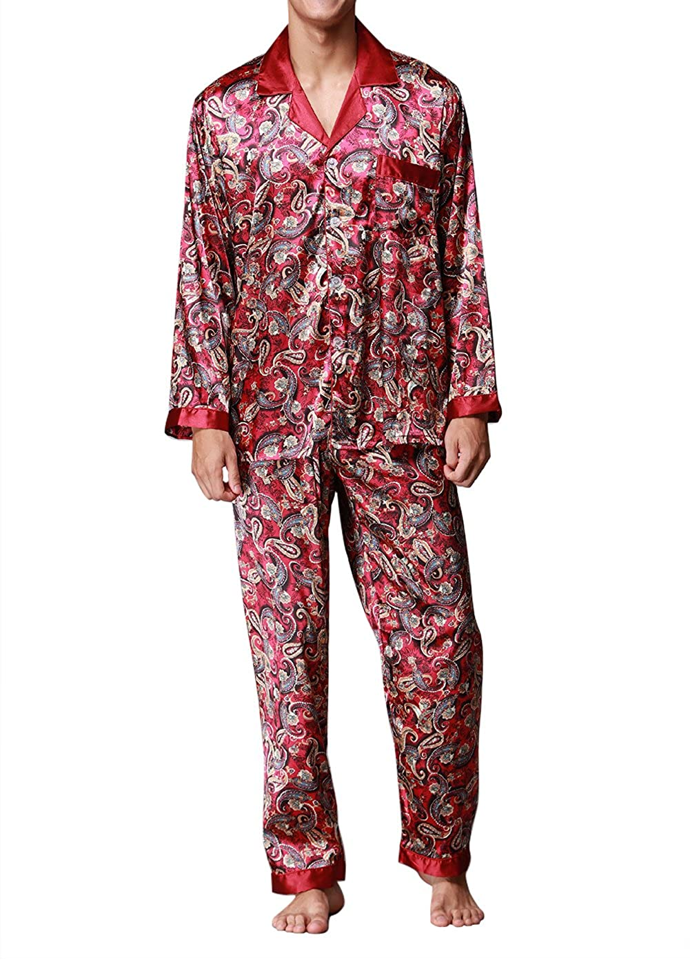 a2451811d066 Button closure 100% premium polyester satin fabric. Nicely tailored men s  long sleeves silk pajama sets. Durable stitching that will last.