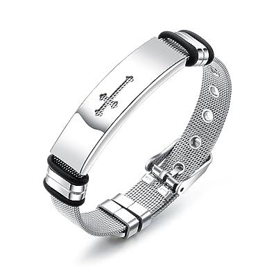 Amazon Com Fate Love Mens Cross Bracelet Religious Stainless Steel