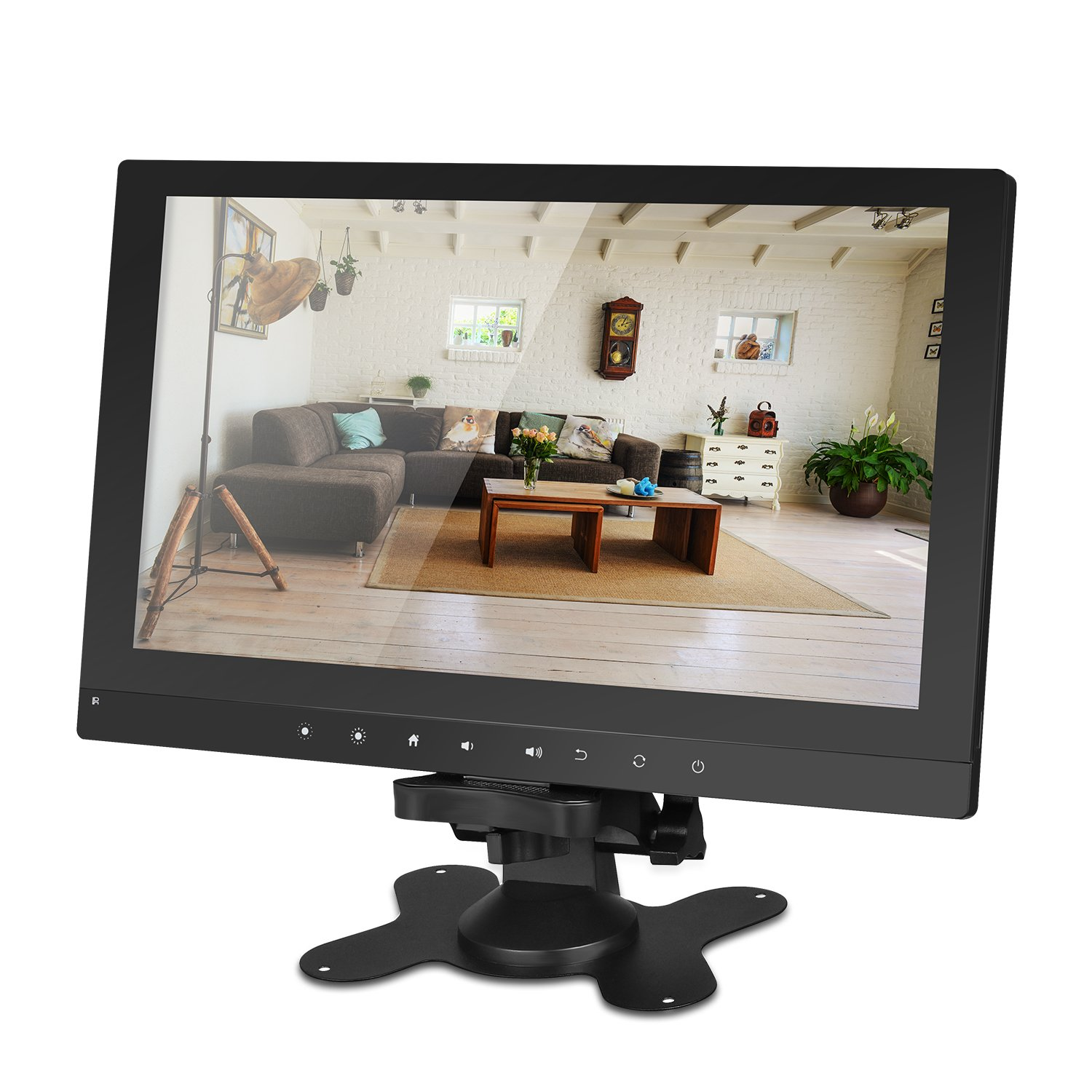 SGEF 10.1 inch TFT LCD IPS 1024x600 HD Wide Viewing Angle Color Display Screen Security Monitor CCTV Surveillance Monitor Video Monitor with Speaker & AV/VGA/HDMI/BNC (black)