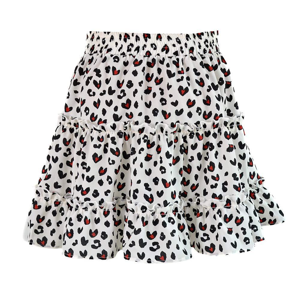 2019 Fashion Women Summer Casual High Waist Ruffled Floral Print Beach Short Skirt (White, XL)