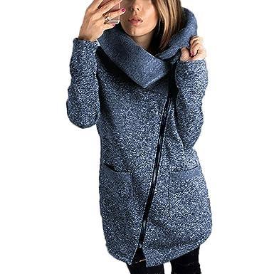 M Queen Donna Giacca Felpe con Cappuccio Inverno Elegante Chiusura a Cerniera Asimmetrica Manica Lunga Felpa Casual Cappotto Maglione Outwear