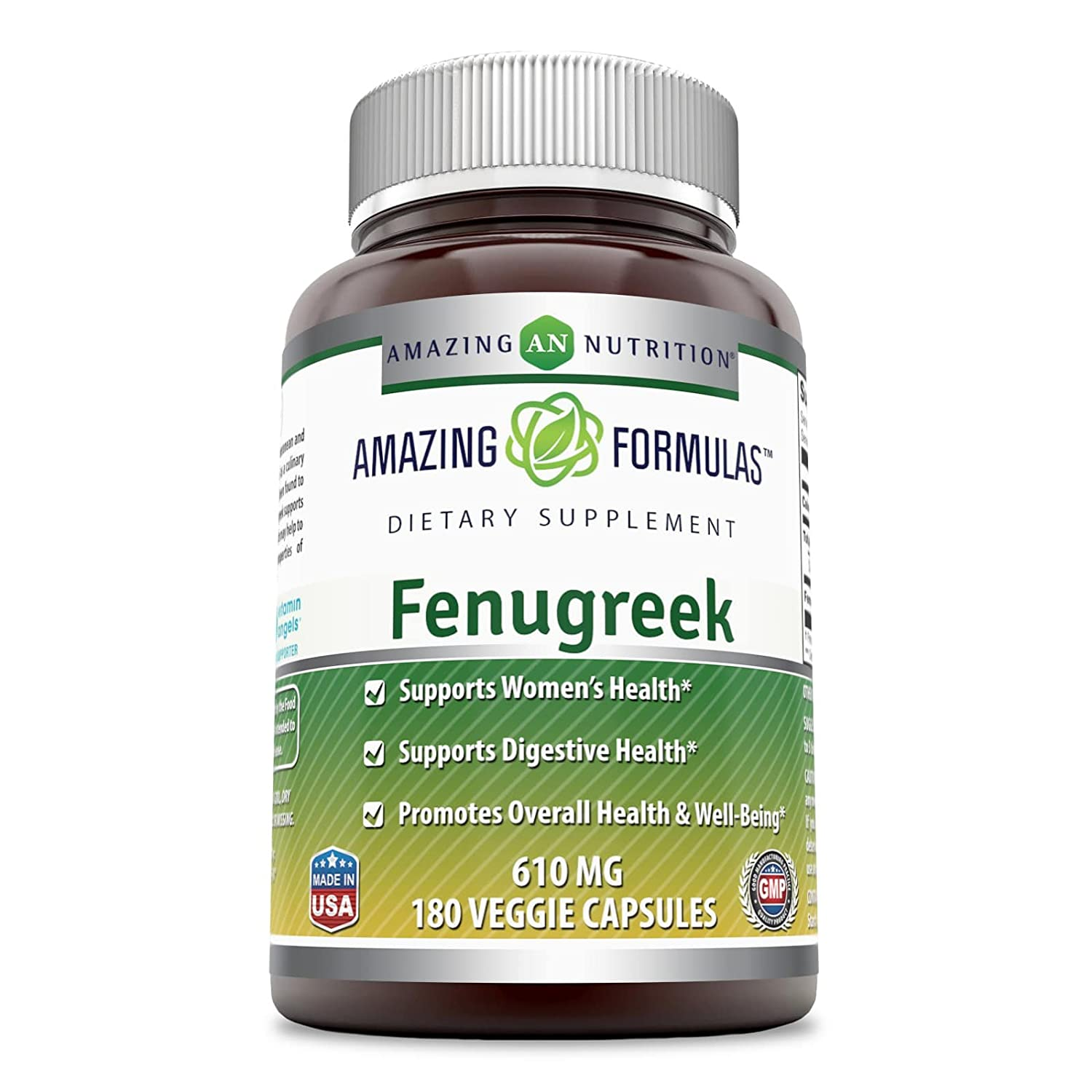 Amazing Formulas Fenugreek Seed Supplement - 610 mg Capsules Made With Pure Seed Extract - 180 Capsules Per Bottle - All Natural Supplements To Support Womens Health, B011LSHR0A