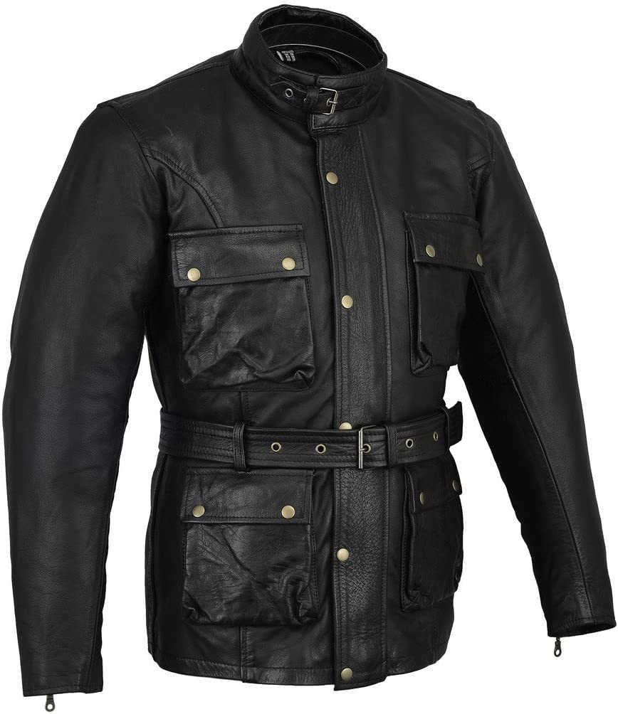Bikers Gear UK - Chaqueta de moto Encerada Wax Trailmaster, Cuero