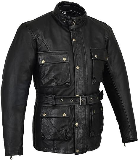 Giacca moto classica con protezioni in pelle bovina cerata e oliata colore nero
