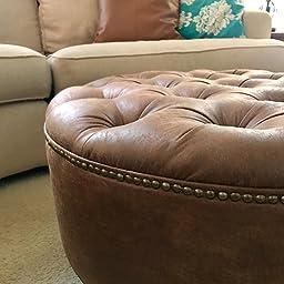 Amazoncom 30 Distressed Vegan Leather Tufted Coffee Table
