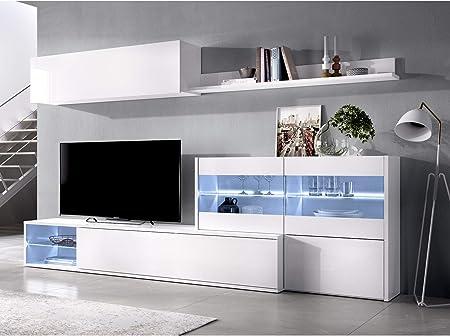 HABITMOBEL Mueble salón Rinconero Moderno con Leds, Acabado en Blanco Brillo Lacado, Medidas: 201x41 cm de Fondo