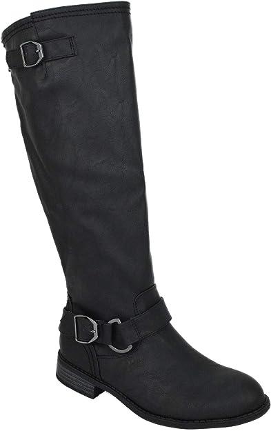 Wild Diva Women Flat Riding Knee High Boots Buckled Back Zipper Black OKSANA-84