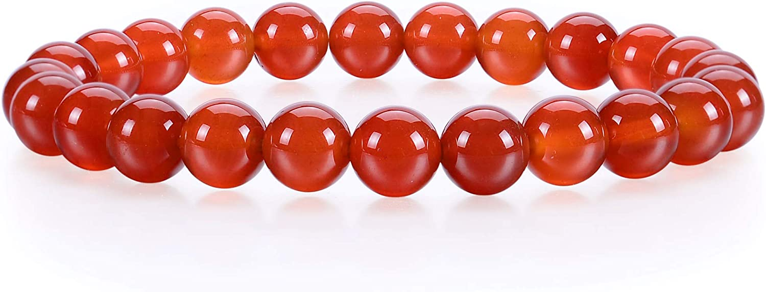 "Cherry Tree Collection Gemstone Beaded Stretch Bracelet 8mm Round Beads 7"" (Red Agate - Deep Orange)"