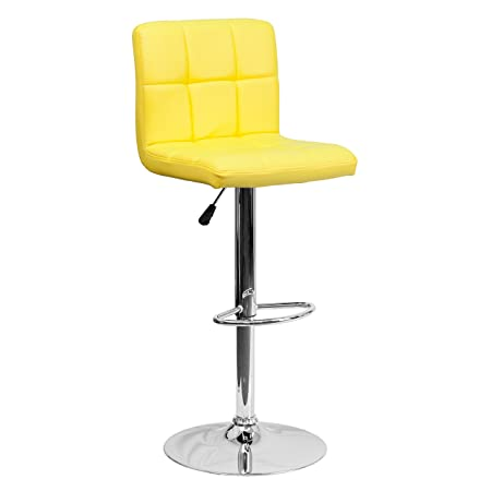 Flash Furniture 2 Pk. Contemporary Yellow Quilted Vinyl Adjustable Height Barstool with Chrome Base
