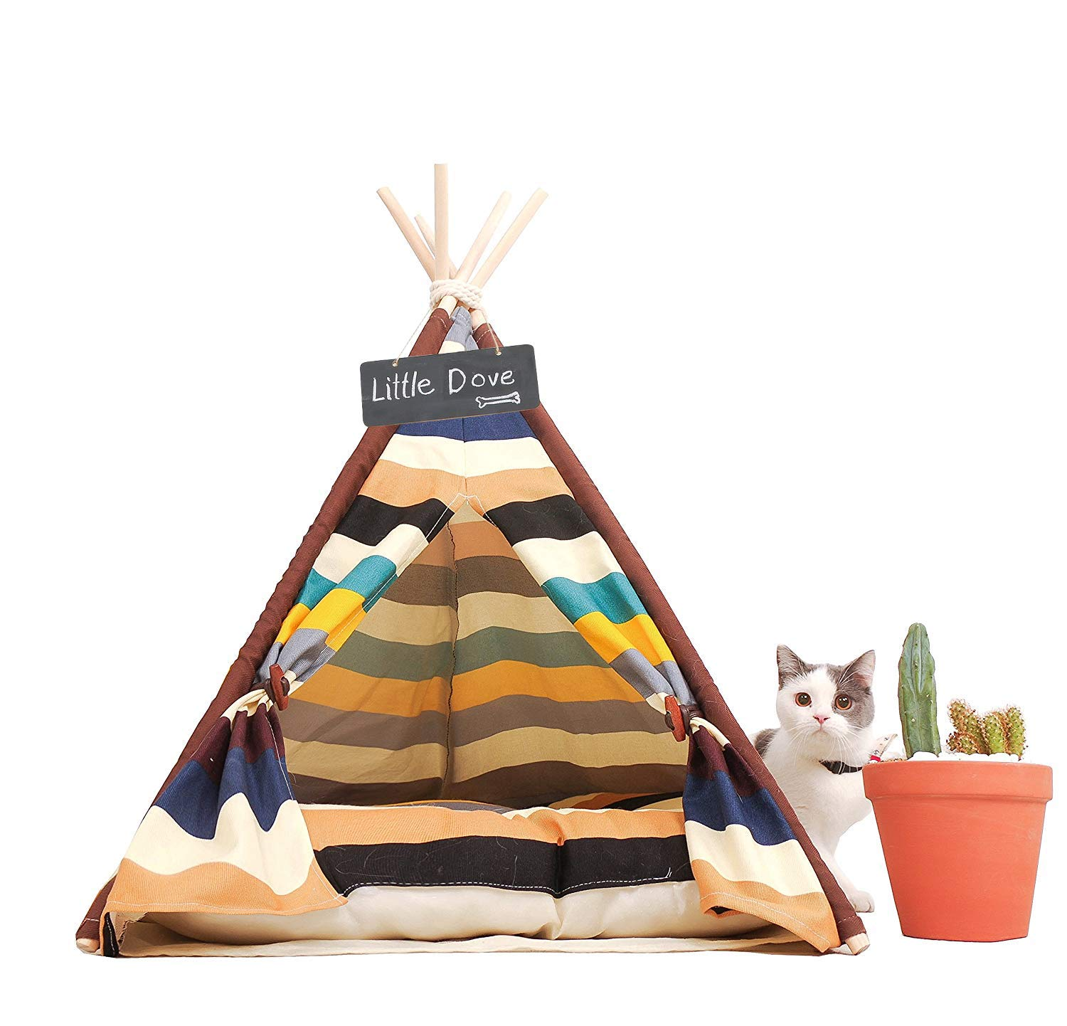 little dove Pet Teepee Dog(Puppy) & Cat Bed - Portable Pet Tents & Houses for Dog(Puppy) & Cat Colorful Style 28 Inch with Thick Cushion by little dove